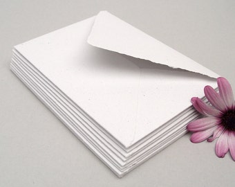 White envelopes, handmade recycled paper, 4 x 5.5 inches, set of 10