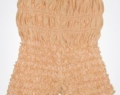 VINTAGE Tan Beige Ruffle Lace Square Dance PETTIPANTS Lingerie Bloomer Pants S M Burlesque Edwardian  Pin Up Saloon Girl Halloween Costume