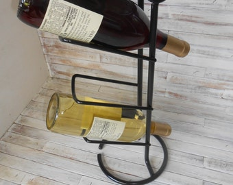 Black Wine Rack - 3 Bottle Wine Holder - Black Metal Wine Rack-Barware - Wine Bottle Holder-Metal Wine Caddy-Wine Holder-