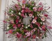 Summer wreath, front door wreath, summer door wreath, housewarming gift, outdoor wreath, door wreath, cottage wreath, spring wreath, wreath