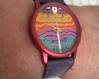 Laurel Burch wrist watch… Rainbow cats