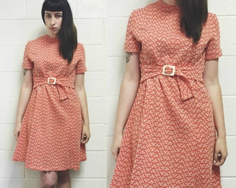 Vintage 60s Dress. Tangerine and White Mod Belted Mini Dress. Belt Can Be Worn in the Front or Back