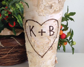 "Personalized Birch Bark Vase A Wedding Gift for a Couple Birch Bark Vase | Tall Rustic 9"" Vase 