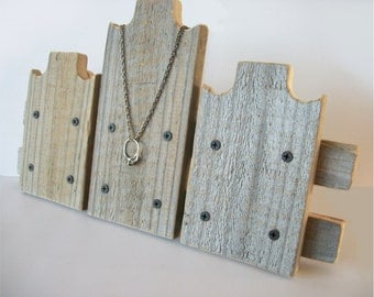 Triple Necklace Display Fence Line Rustic Wood Necklace Stand Weathered Reclaimed Wood Take Down Design for Craft Shows