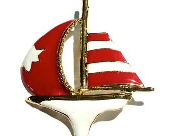 Vintage Enamel Sail Boat Brooch