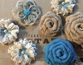 Shabby Chic Burlap Flower Assortment - Choose Accent Color