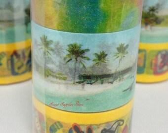 Sets of 3 Travel  4 (Festival,Maldives, Baggage ) Japanese Washi Tape Masking Tape Deco Tape Paper Tape (MST-MKT153-C)