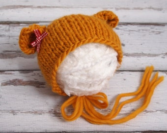 My Little Newborn baby knitted wool Bear Hat/ Photography Prop/ Bow tieback