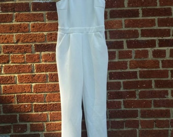 Vtg 70s 80s Fitted White Jumper Jumpsuit Xs Sm