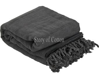 Luxury Turkish Beach Blanket, Picnic Blanket,Towel Blanket,Beach Blanket Towel, Exclusive Quality Pestemal Throw Blanket Turkish Towel Black