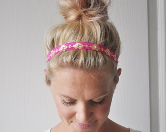 Hot Pink Boho Tribal Headband Aztec Printed Hair Accessory