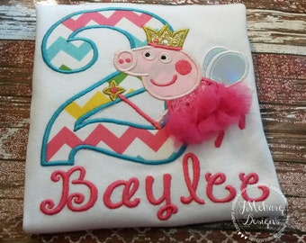 Fairy Princess Peppa Pig Birthday Embroidered Shirt - Customizable -  Infant to Youth 296
