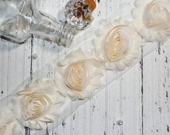 "1 Yard Chiffon Shabby Rose Trim Cream 2.5"""