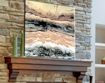 Original Painting, Abstract Landscape, Resin Art, Large Wall Art, Epoxy Resin Painting Designer Art Rustic Home Decor Beige White and Gray