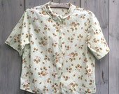 Vintage blouse | Sanforized round collar leaf print short sleeve top