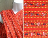 Vintage fabric | Destash fabric sale deadstock Scandinavian style Peter Pan Fabrics red floral print poly-cotton blend