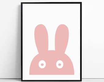 bunny, bunny ears, bunny print, nursery, nursery decor, nursery wall art, nursery art, printable kids gift, instant download printable art,