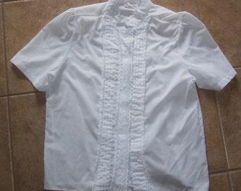 Lauren Lee White fancy short sleeve blouse top shirt size 18 Vintage lace button