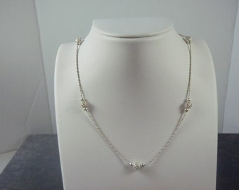 Sterling Silver Beaded Ball Necklace N12
