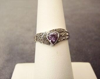 Sterling Silver Purple Stone Marcasite Heart Ring Sz. 6 1/4  R60