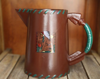 1982 Vintage Native American Indian Arrow Tee Pee Canoe Pottery Coffee Pitcher Urn Tribal Pattern Southwest by American Frontier