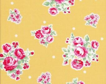 Sale Fabric - Pink Rose Fabric - Rose Fabric - Yellow Fabric - Lecien Fabric