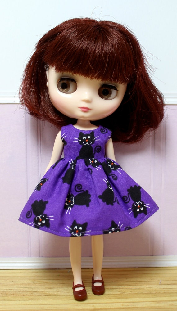 Sale blythe middie doll halloween party dress little black cats