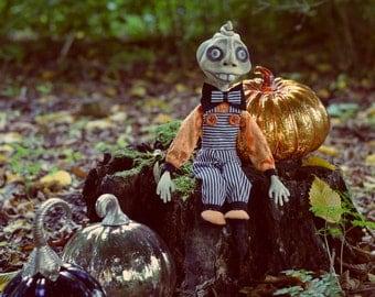 OOAK Halloween Pumpkin Art Doll - Jack Pumpkin Head - Doll Artist Cheryl Austin