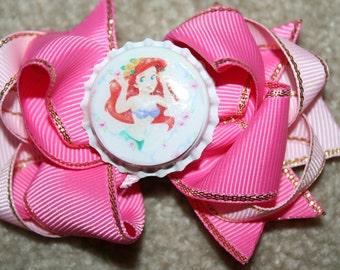 CLEARANCE SALE Disney Princess Ariel (Little Mermaid) Custom Boutique Bottle Cap Hair Bow Clip - PINK