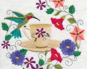 Time for Tea Hummingbird Embroidered Decorative Absorbent White Cotton Flour Sack Towel, Linen Tea Towel, Hand Towel, Guest Towel