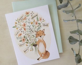 Fox Thanks- thank you greeting card