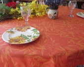 Small to medium round tablecloth. Cotton Jacquard coated. Fabric from Provence, France. Olives in terra cotta.