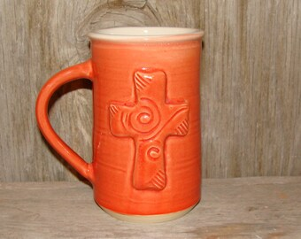 Burnt Orange 16 oz. Cross Mug