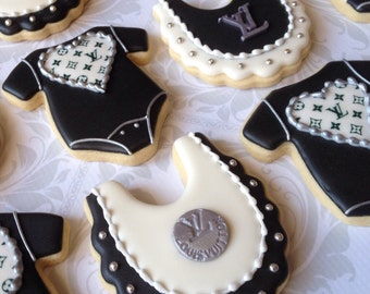 Black & White Designer inspired Baby Shower Cookies - One Dozen Decorated Sugar Cookies