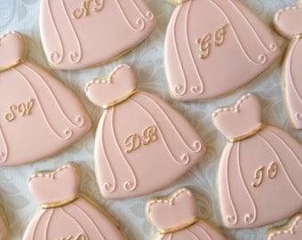 Will you be my Bridesmaid Dress Cookies- One Dozen Decorated Sugar Cookies