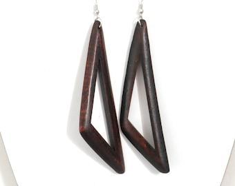 Handcrafted Wood Wooden Earrings Dark Brown Color