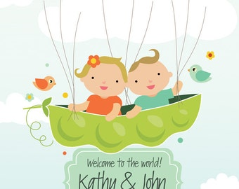 Twins In Pea Pod Guestbook, Baby Shower Guestbook, Twins Birthday Thumbprint Guestbook, Baptism Personalized Gift, PDF, Thumbprint balloons