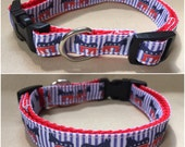 "Handmade Democrat Dog 5/8"" Adjustable Dog Collar - X-SMALL"