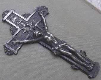 Ancient German Crucifix, Superb Medieval Crucifix, Jesus Christ, Gothic Cross, Relic, Catholic, Antique Silver Cross