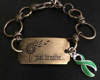 Green ribbon charm bracelet - Just Breathe - Kidney cancer survivor, lyme disease, cerebral palsy, adrenal cancer