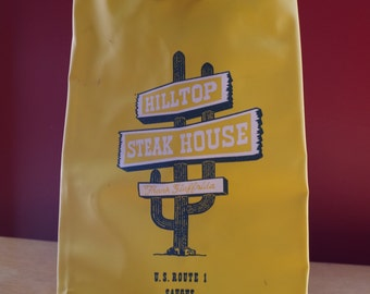 Vintage 1970s Hilltop Steak House Beach Bag With Rope handle Saugus Boston Massachusetts