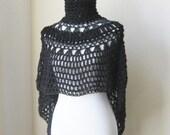 Black Bohemian Poncho Crochet Knit FashionBoho Chic Hippie Feminine Romantic