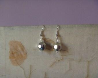 silver tone faceted globe earrings, ecofriendly silver tone earrings