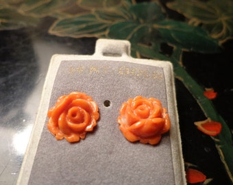 Carved Coral Rose 14K gold earrings