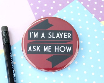 Buffy the Vampire Slayer Badge, Pocket Mirror or Keyring. Buffy Badge Pin. Buffy Keyring. Buffy Pocket Mirror. Buffy Gifts. Vampire Badge