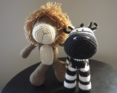 Zeb the zebra and Leo the lion-Custom Listing for Sara