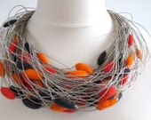 Felt Unique Natural Linen String Necklace with OrangeCrmin Ocean Gray Felted Beads Merinowool Boho