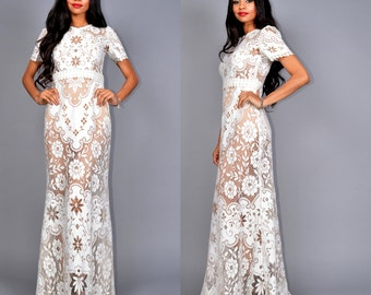 Vintage Sheer Two Tone LACE Hippie Boho WEDDING Maxi Dress Gown