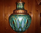 Stunning MID CENTURY Swag LAMP ceramic spatter painted with fabric shade 1960s turquoise ufo