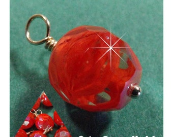 Bright Red Givre 9mm Faceted Wired Charm - Bead Dangle - Hand Wire Wrapped Drop (2, 4, 6, or 8)